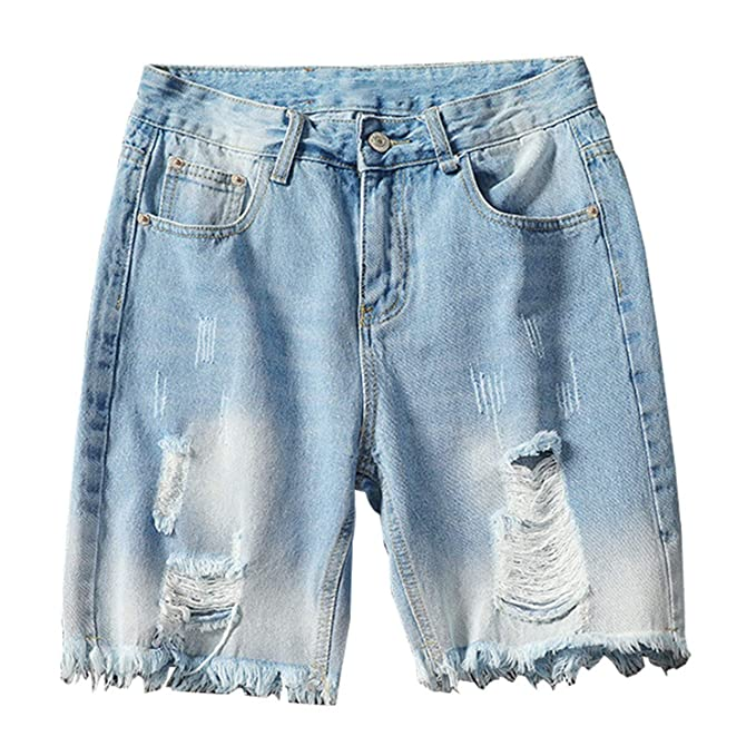 Ripped Short Jeans Distressed Denim Shorts Plus Size Washed ...