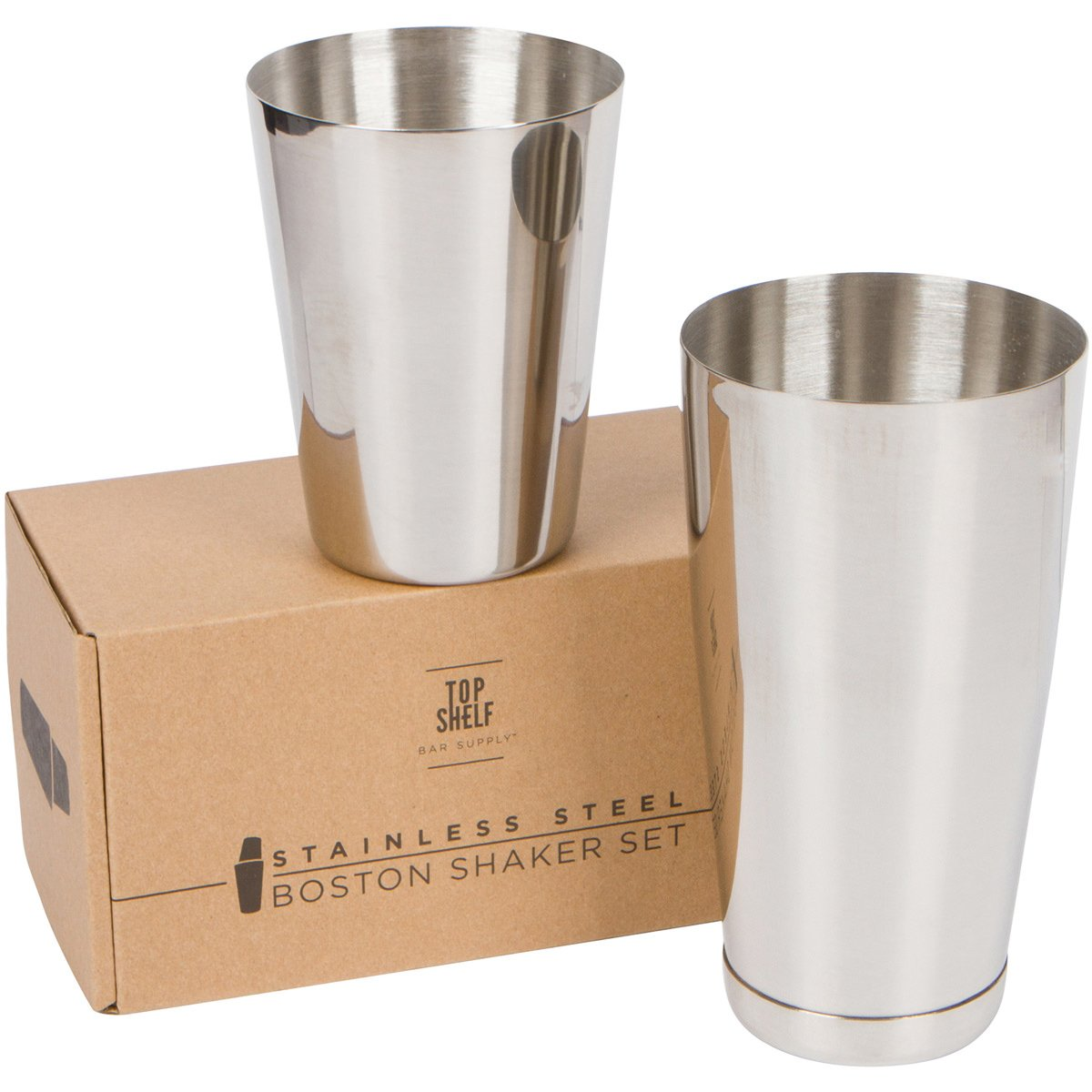 Stainless Steel Boston Shaker: 2-piece Set: 18oz Unweighted & 28oz Weighted Professional Bartender Cocktail Shaker by Top Shelf Bar Supply (Image #1)