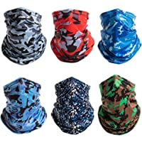Minkissy 6pcs Neck Gaiter Face Scarf Creative Printed Sun UV Protection Neck Gaiter Breathable Scarf Neck Protector for…