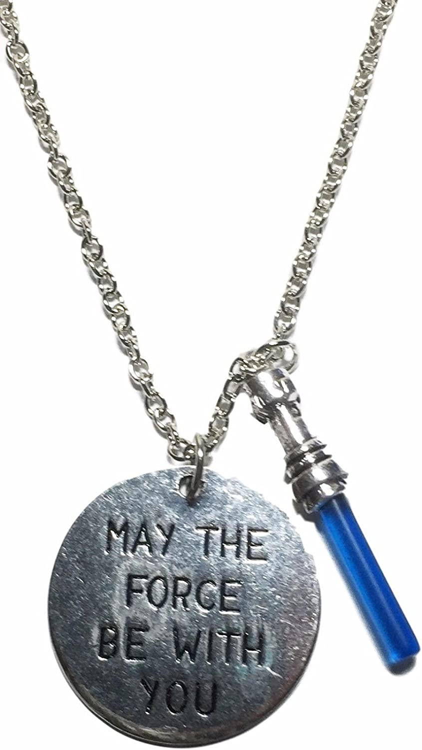 Star Wars Light Lightsaber /'May the Force By With You/' Charmed Vintage Necklace