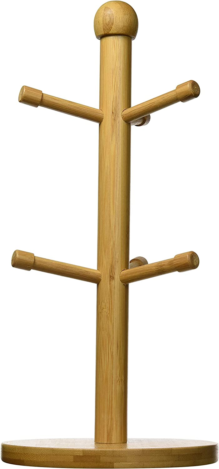 Home Basics Bamboo Mug Tree, Holds Up to 6 Coffee Cups, Free Standing, Circular Base, Kitchen Countertop, Beige (1)