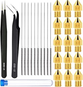 12 PCS 3D Printer Nozzle MK8 Extruder Brass 0.4mm Nozzle Heads 10 PCS 3D Printer Nozzle Cleaning Kit Tool 0.4mm Needles with Tweezers 3D Printer Accessories