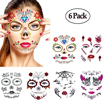 fd8cd916f Amazon.com : Halloween Temporary Face Tattoos, WenMei Skull Scar Spider  Blood Bat Rose Floral Fake Tattoos Sticker for Women Men Kids Boys With 6  Realistic ...