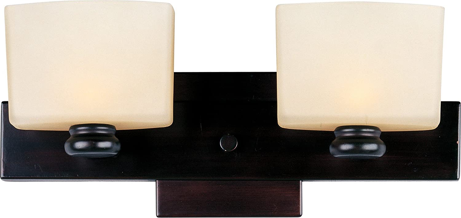 B003A43XDE Maxim 9002DWOI Essence 2-Light Bath Vanity Wall Sconce, Oil Rubbed Bronze Finish, Dusty White Glass, G9 Frost Xenon Xenon Bulb , 12W Max., Damp Safety Rating, 3000K Color Temp, Standard Triac/Lutron or Leviton Dimmable, Glass Shade Material, 11