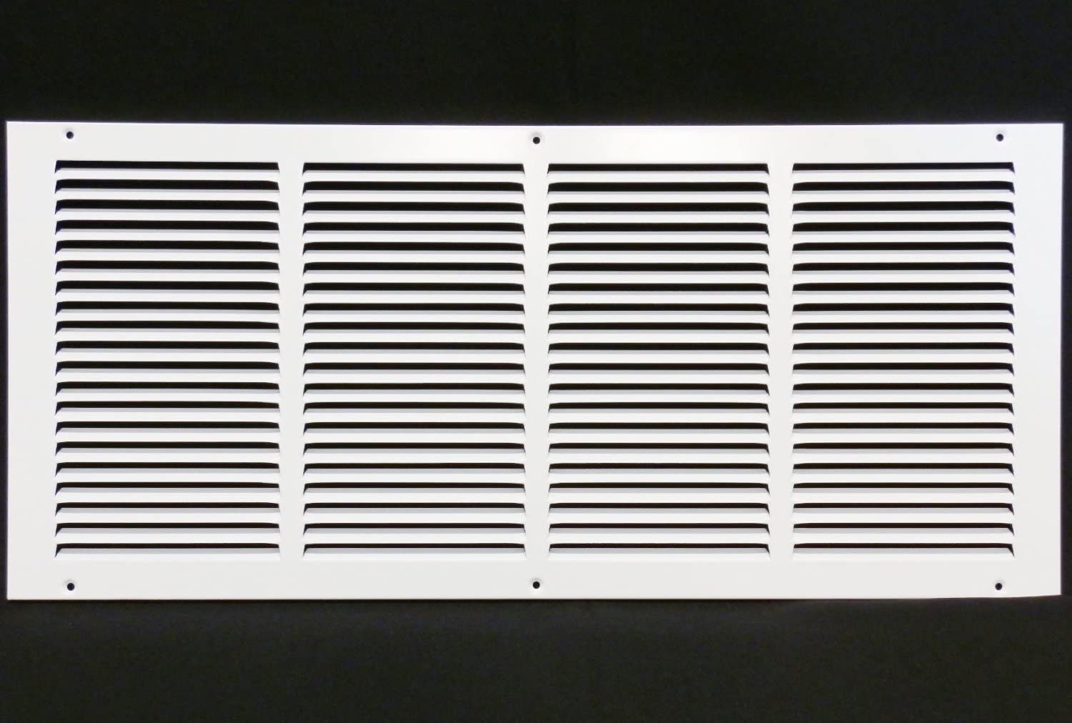"24""w X 10""h Steel Return Air Grilles - Sidewall and Ceiling - HVAC Duct Cover - White [Outer Dimensions: 25.75""w X 11.75""h]"