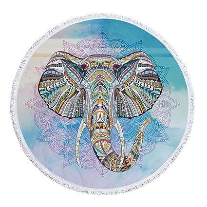 Redonda Elefante Manta de Playa Toalla con Borla Tapiz ...