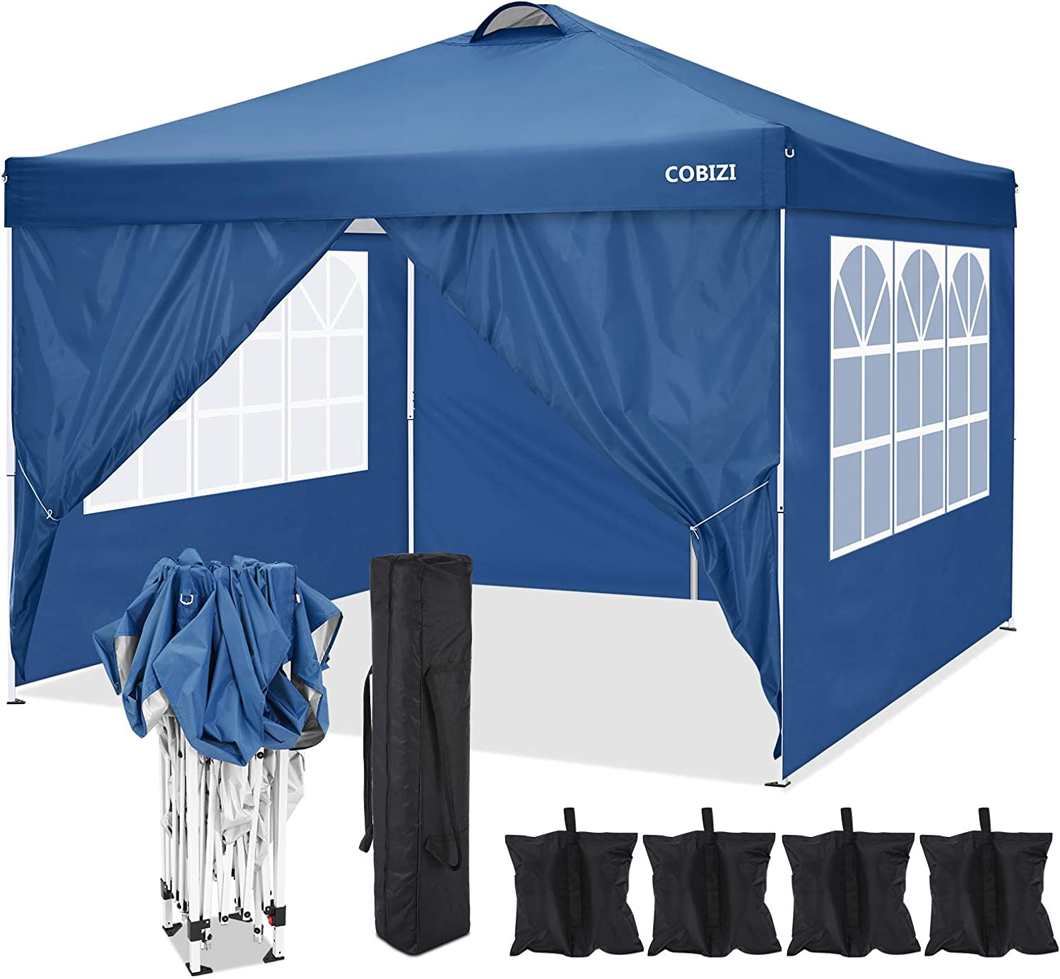 """COBIZI Pop-up Canopy Tent 10""""x10"""" Foldable 210D&600D Waterproof Oxford Cloth Awning Commercial Beach Garden Tent for Hiking, Camping, Fishing, picnics, Family outings (Blue)"""