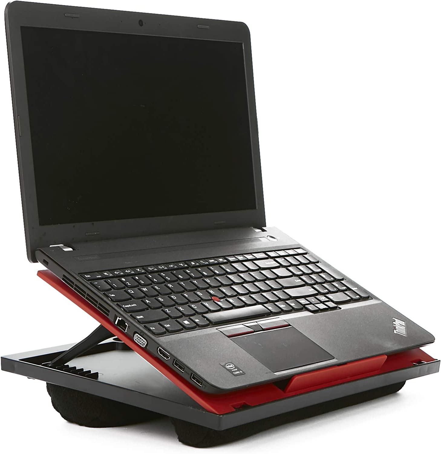 Mind Reader LTADJUST Adjustable 8 Position Top Desk with Cushions, Monitor, Laptop Lap Holder, Red, 11.12 D x 14. 75 W x 3 H