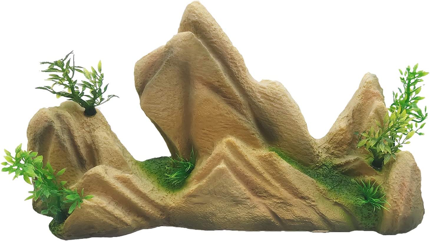 Hamiledyi Aquarium Mountain View Ornament Decorations Rock Stone Cave Landscape Artificial Resin with Plants Grass for Fish Tank