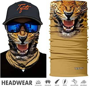 TEFITI 3D Animal Tube Face Masks Multifunctional Headwear,Outdoor Sports,Casual Headbands, Wristband,Bandana Balaclavas Stretchable Neck Gaiter for Hiking,Biking Running Hunting