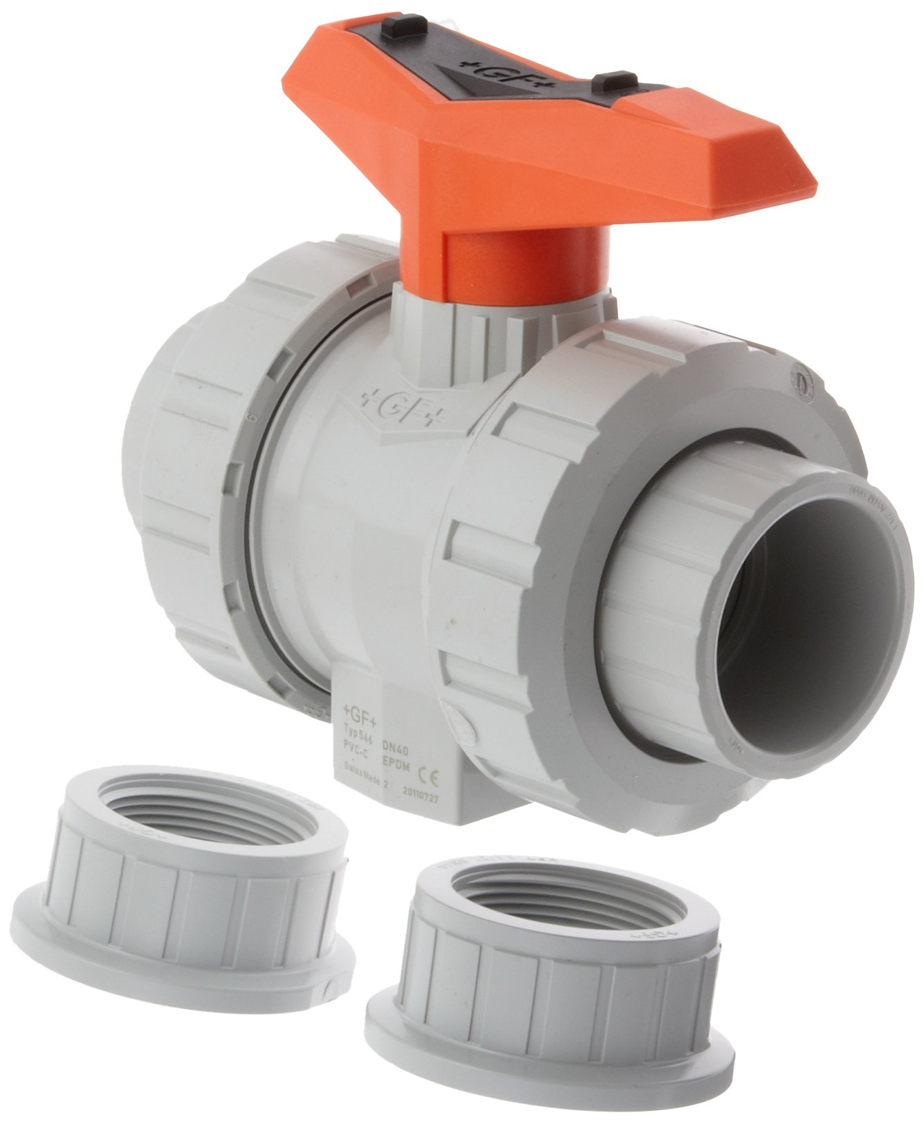 GF Piping Systems CPVC True Union Ball Valve with Mounting Inserts, Two Piece, PTFE Seat, EPDM Seal, 1-1/2'' Socket/NPT Threaded