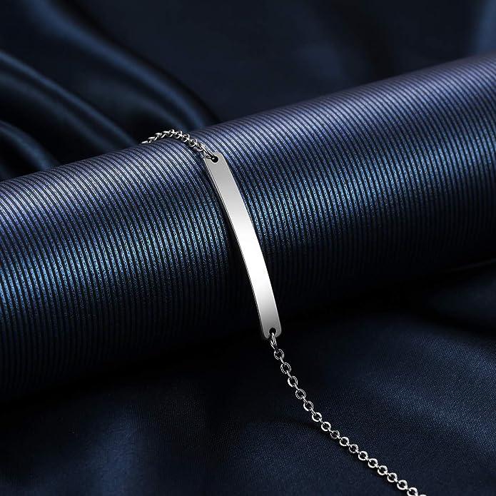 MeMeDIY Bracelet Personnalis/é Noms de Gravure pour Femmes Filles en Acier Inoxydable R/églable Cheville C/âble Cha/îne Lien avec Coeur Demoiselle dhonneur Cadeaux Amis Bracelets