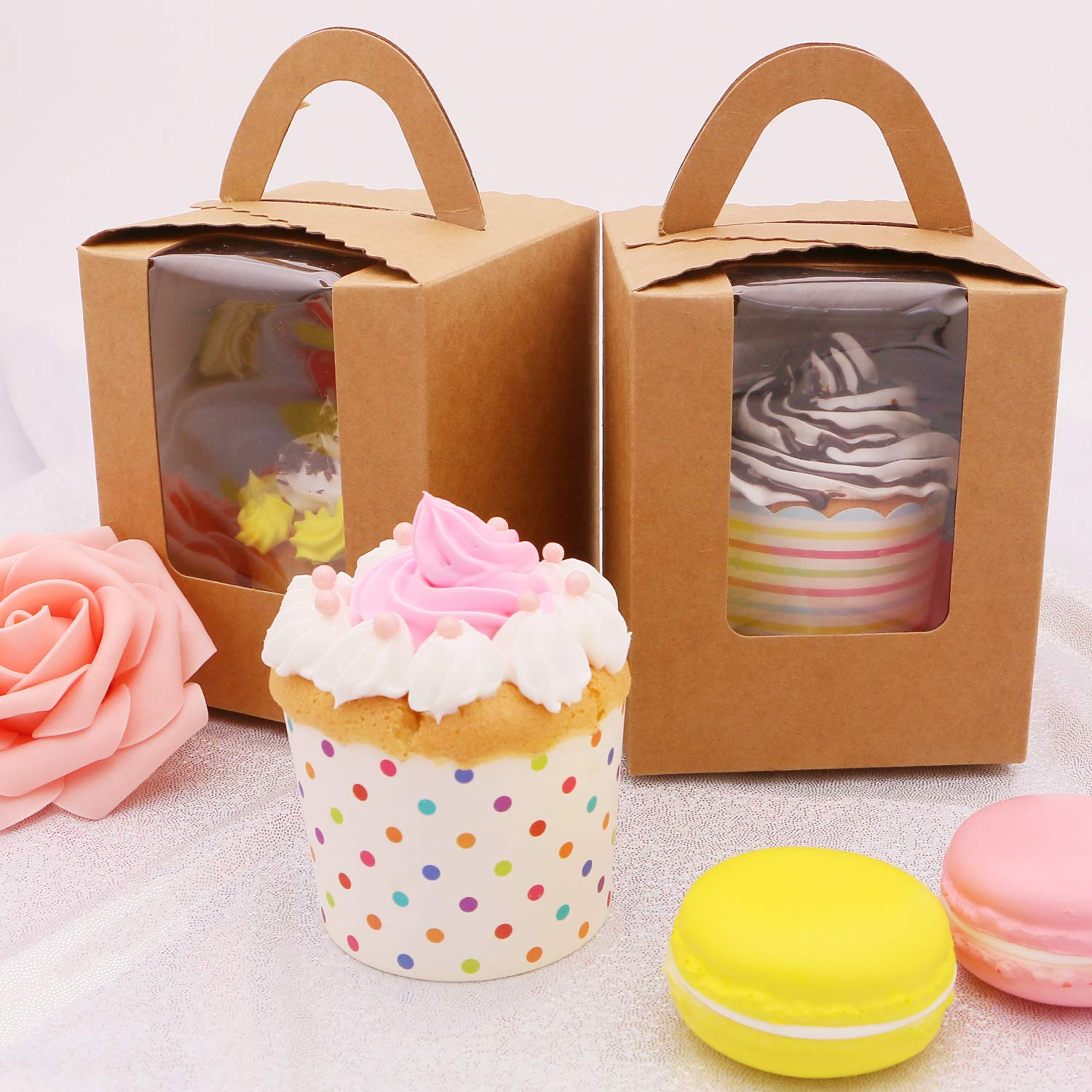 Single Cupcake Boxes with Insert Window Handle, Portable Kraft Paper Cupcake Containers Carriers for Valentine's Day Wedding Bakery Parties, Candy Boxes, 50 Pack