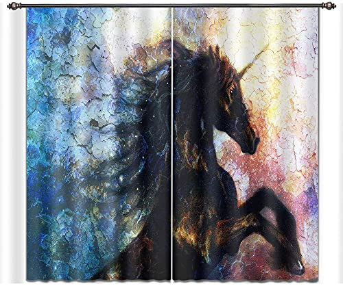 LB Fantasy Unicorn Decor Room Darkening Thermal Insulated Blackout Curtains,Painted Unicorn 3D Window Curtains Drapes for Living Room Bedroom 2 Panels Set,28 x 65 inch Length