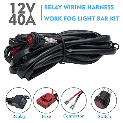 71al89HlQcL._SX425_ amazon com 12v led relay kit maso led light bar wiring harness