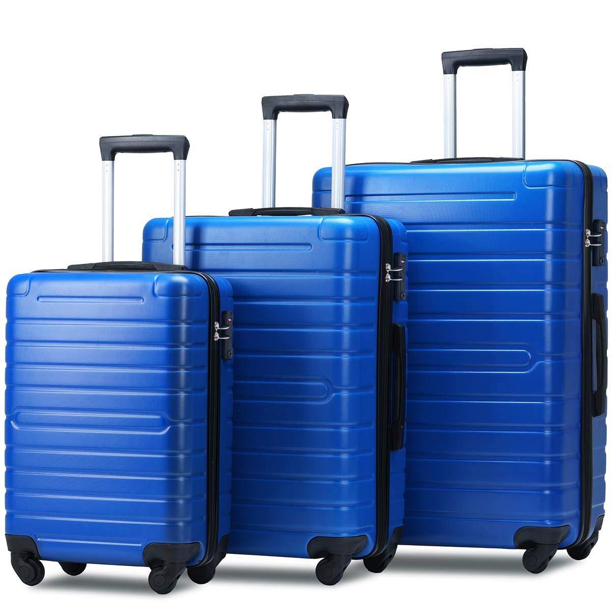 Flieks Luggage Set 3 Piece with TSA Lock Light Weight Hardside Spinner Suitcase (blue) by Merax
