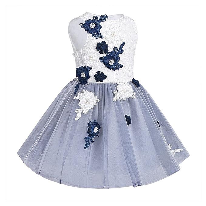 Freebily Vestido de Princesa Boda Fiesta con Flores para Niña Vestido Blanco de Ceremonia para Chica