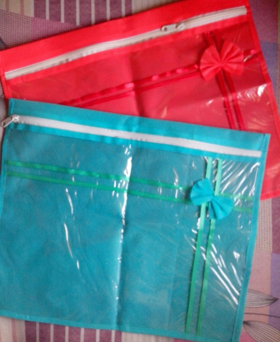 ( 12 PC) Oneside Clear Plastic Clothes Sari Saree Garment Storage , saree Bow cover Bags by Mufaddal Traders (Image #3)