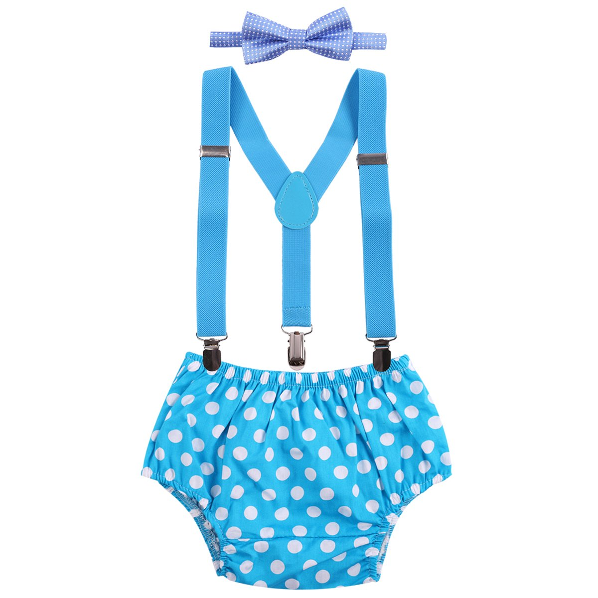 Cake Smash Baby Boy 1st Birthday Suspender Bottoms Bowtie Outfit Photo Props deep blue striped