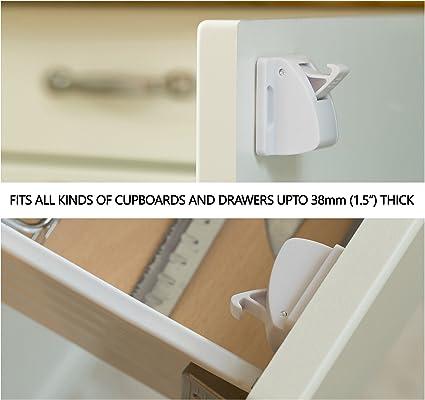 Aycorn Cerraduras de armario magnéticas a prueba de seguridad para niños y bebés 10 cerraduras y 2 llaves Blanco: Amazon.es: Bebé