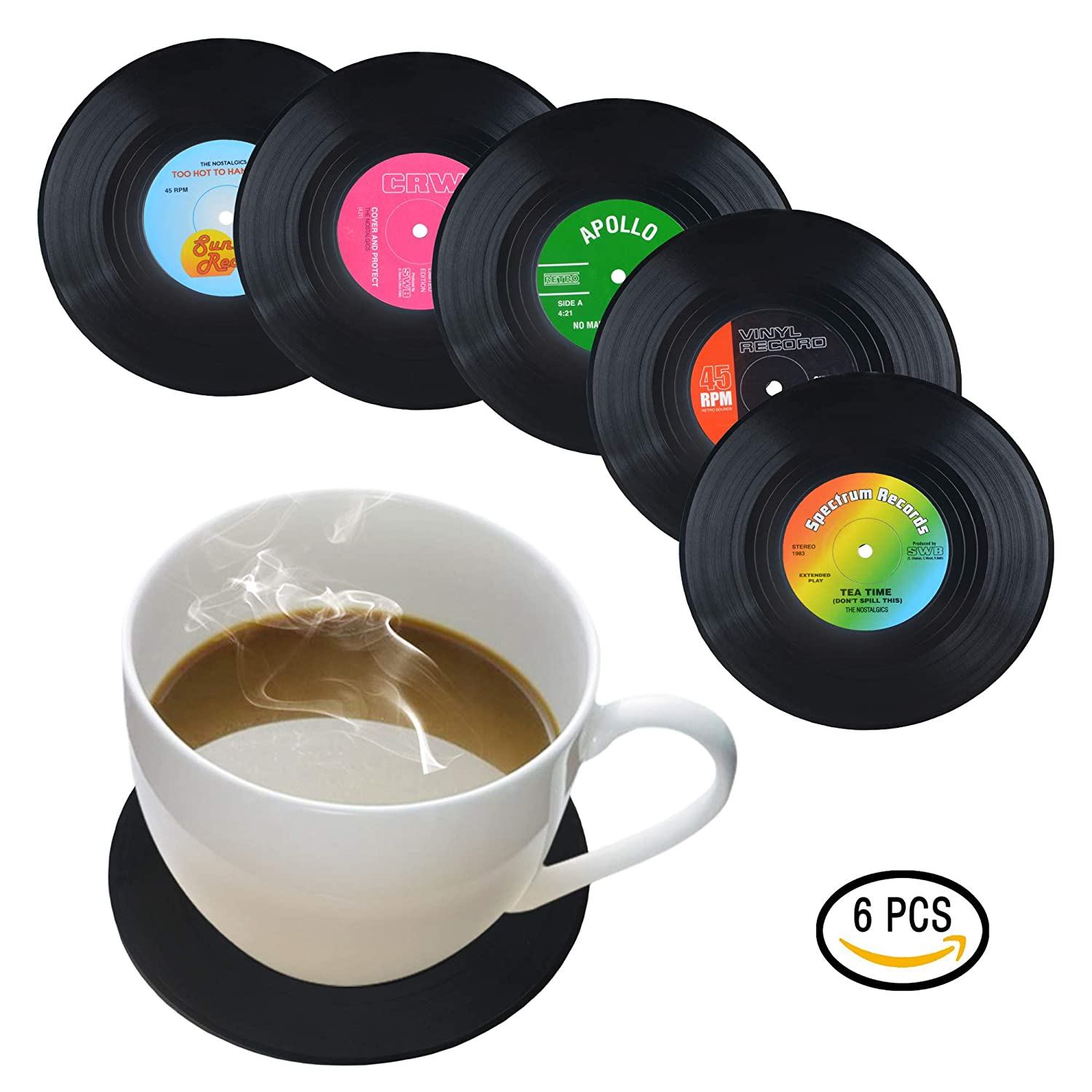 Coasters for Drinks by HIRUN - Set of 6 Vinyl Record Retro Music Coasters - Art Car Bar Tea Coffee Table Mug Beer Bottle Beverages Absorbent for Wine Glass Rubber Black Cup Mat - Large 4.2 inch Size BZ1-A