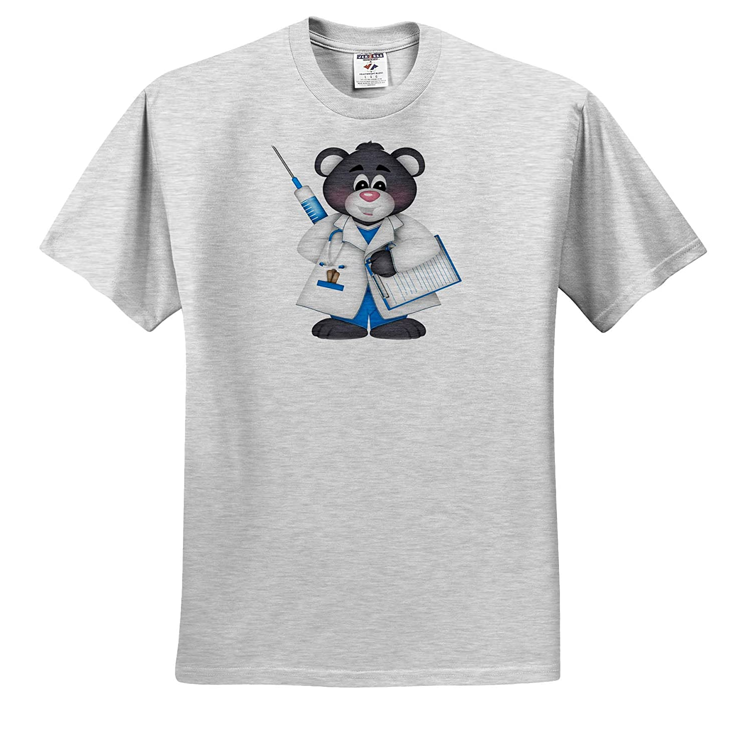 and White 3dRose Anne Marie Baugh Bear Doctor Illustration Adult T-Shirt XL ts/_317933 Cute Blue Illustrations Gray