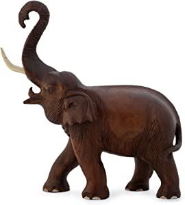 NOVICA Large Brown Animal Themed Ivory Wood Sculpture, 15.25