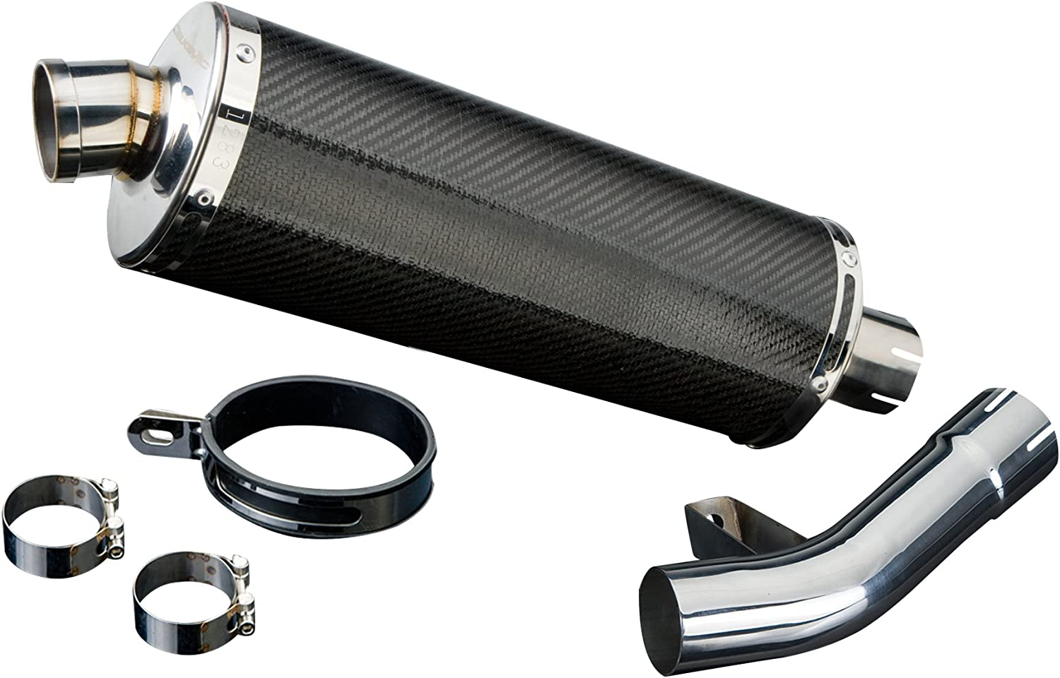 Delkevic Aftermarket Slip On compatible with Suzuki GSF1250 Bandit Stubby 14 Carbon Fiber Oval Muffler Exhaust 07-09 /& 16