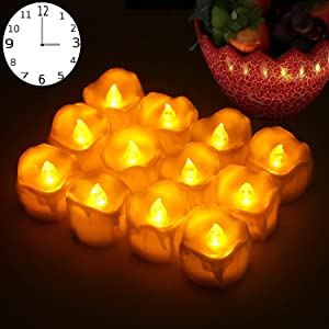 LED Timer Candles, 12pcs Battery Operated Flickering Flameless Tea Light Candles, Automatically 6 Hours On and 18 Hours Off Per Cycle for Thanksgiving Christmas Wedding Party Decoration,Warm Yellow