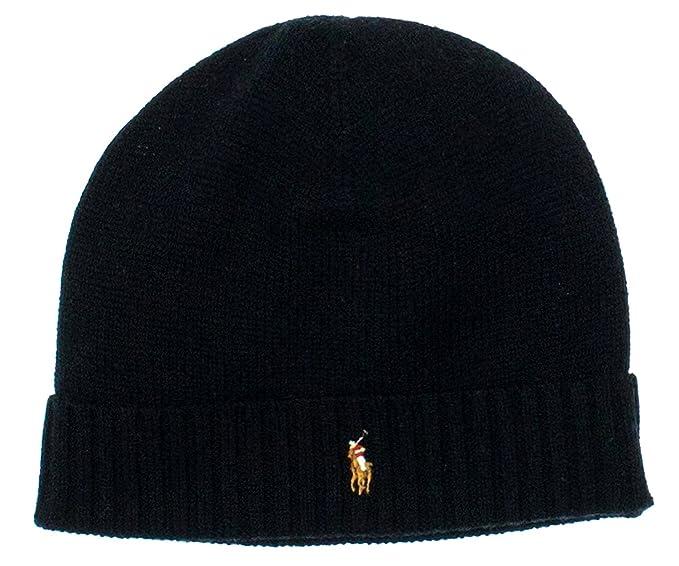 a809228cb22 Ralph Lauren Mens 100% Merino Wool Beanie Onesize Black at Amazon Men s  Clothing store