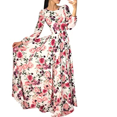 d57431df0 Fashion Long Dresses, Women Floral Boho Party Evening Prom Swing Long Sleeve  Maxi Dress at Amazon Women's Clothing store: