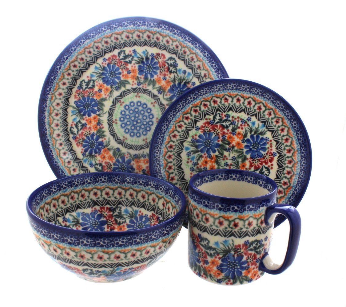 Blue Rose Polish Pottery Ashley 4 Piece Place Setting - Service for 1 Person