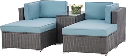 Oakmont 5 Pieces Patio Furniture Sectional Set Outdoor All-Weather PE Rattan Wicker Lawn Conversation Sets Cushioned Garden Sofa Set