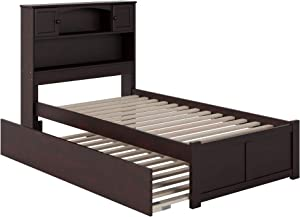Atlantic Furniture Newport Platform Bed with Flat Panel Footboard and Twin Size Urban Trundle, Espresso
