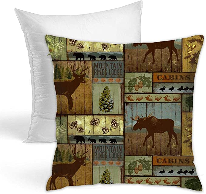 Kiengg Rustic Lodge Bear Moose Decorative Throw Pillow For Bed Couch Cushion Cover Square Pillowcases 18 X 18 Inches Double Side Contain Pillow Core Amazon Ca Home Kitchen