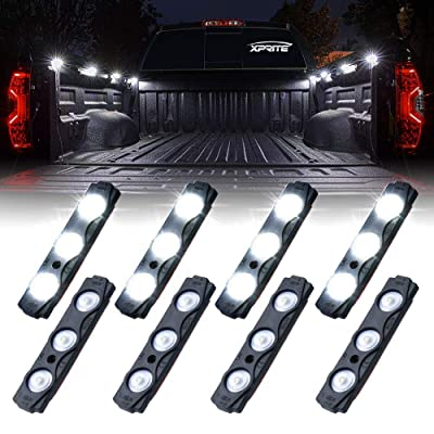 Xprite White Truck Pickup Bed Light Kit, 24 Led Cargo Rock Lighting Kits w/Switch for Van Off-Road Under Car, Side Marker, Foot Wells, Rail Lights - 8 PCS: Automotive