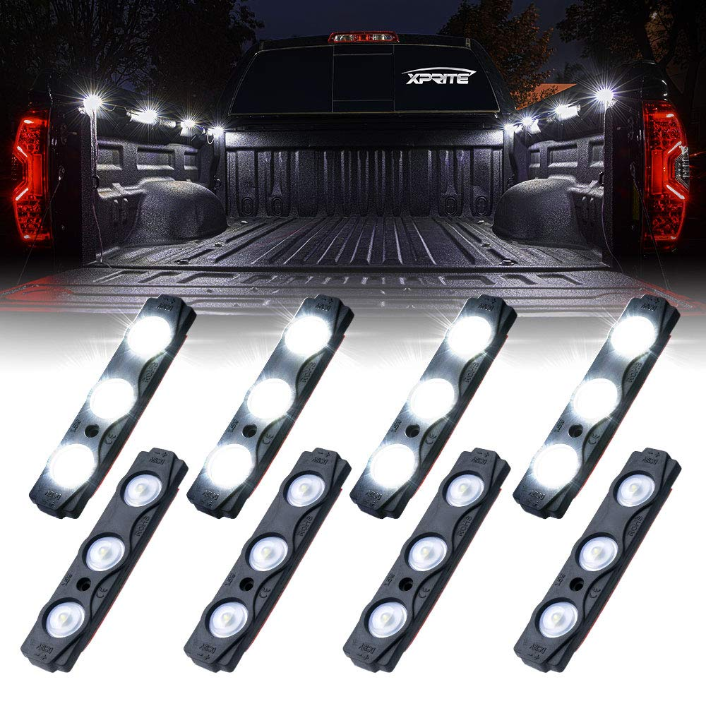 Xprite Led Rock Light Bed Truck, 24 LEDs Cargo Truck Pickup Bed, Off Road Under Car, Foot Wells, Rail Lights, Side Marker LED Rock Lighting Kit w/Switch White - 8 PCs by Xprite