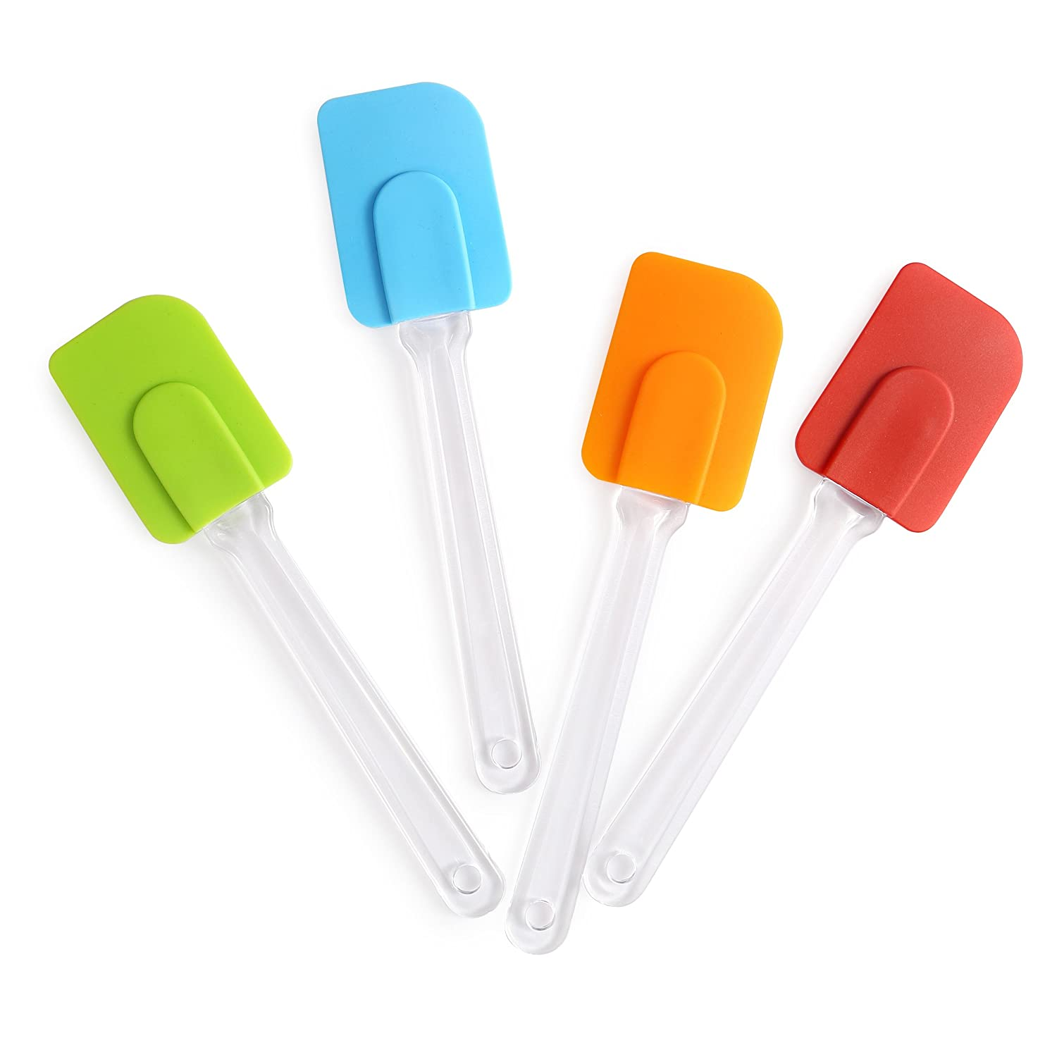 Harima - 4 Piece Set of Flexible Silicone Rubber Spatulas Turner Spoon Heat Resistant Non Stick Baking Spatula Kitchen Utensils