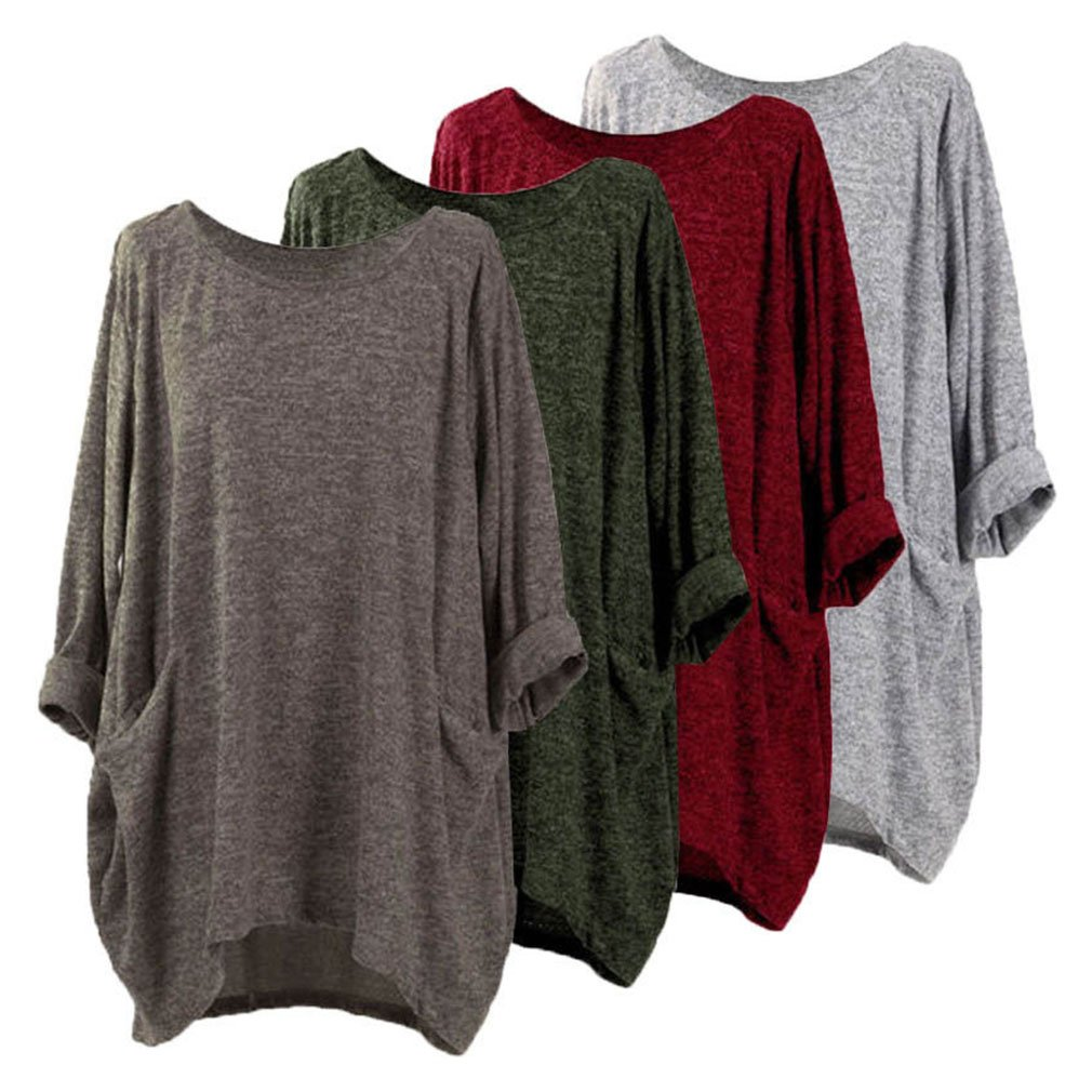 Yying Oversize Camiseta Manga Larga Mujer T-Shirt S/ólido Bolsillo Cuello Redondo Elegante Suelto Sayo Casual Blusas Primavera Verano Oto/ño Camisas Largo Tops