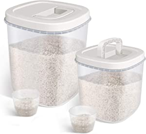 Airtight Bulk Food Storage Container - 10 Pounds + 20 Pounds Rice Storage Bin with Measuring Cup, Flour Container for Kitchen Pantry Organization