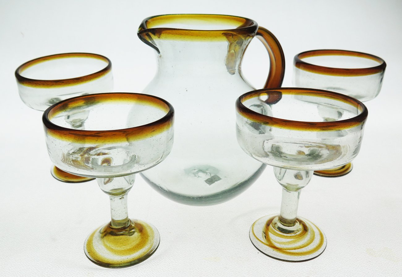 Mexican Margarita Glasses and matching pitcher, Amber Rim (set of 5)