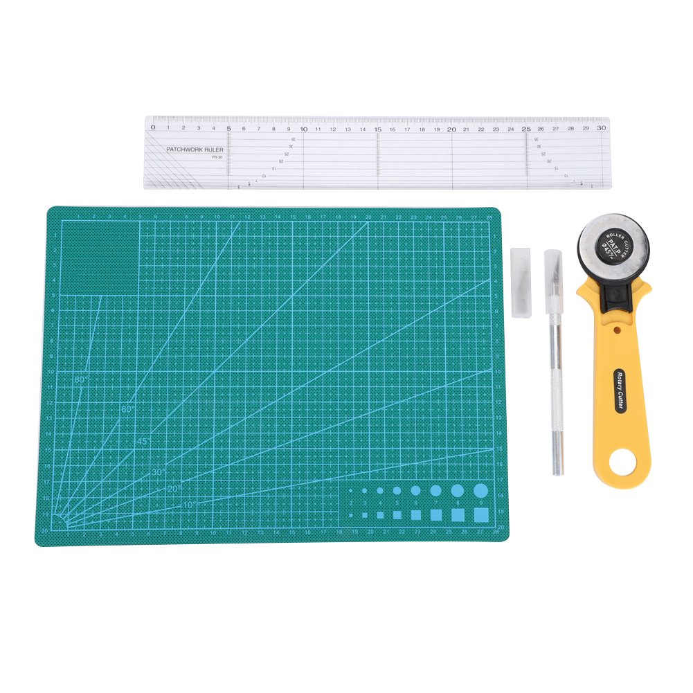 5 in 1 Sliding Gaguge KINGTOOL 78 Pcs Ultimate Sewing Tool Kit Tailor Scissor and Other Kits for Fabric Sewing Projects 45mm Rotary Cutter Patchwork Ruler A3 Cutting Mat