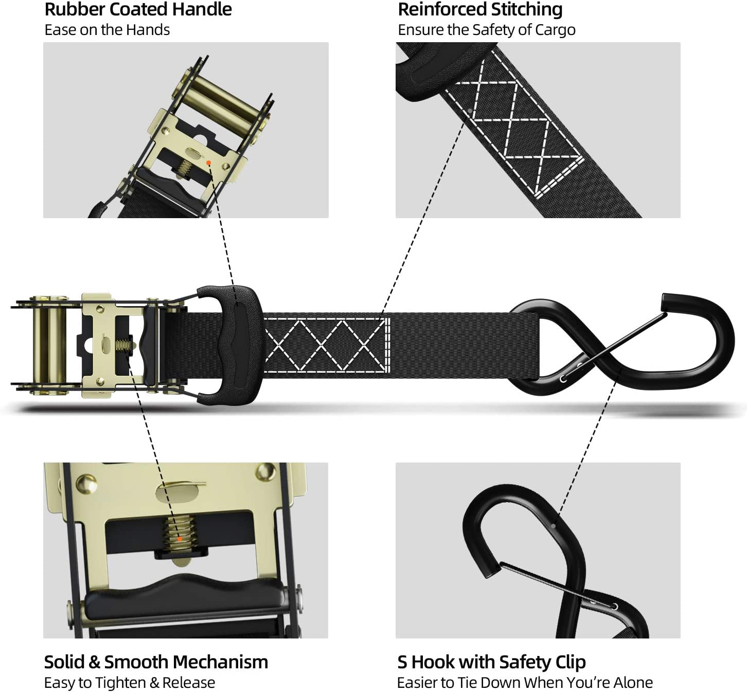 Ratchet Tie Down Straps with Safety Clip 4-Pack 1.5 x 15 /& 4 Soft Loops Ohuhu Ratchet Tie Downs Logistic Cargo Straps for Moving Appliances 1100 lbs Load Cap 3300 lbs Breaking Limit Motorcycle