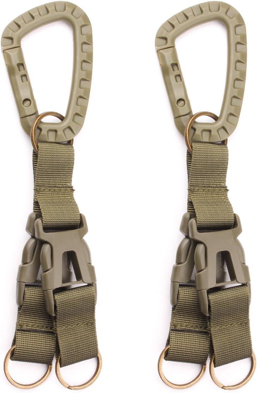 GES Tactical Gear mosquetón Cilp nailon multifunción Webbing mochila para Colgar Hebilla de cinturón llavero soporte compatible con Molle bolsas para ...