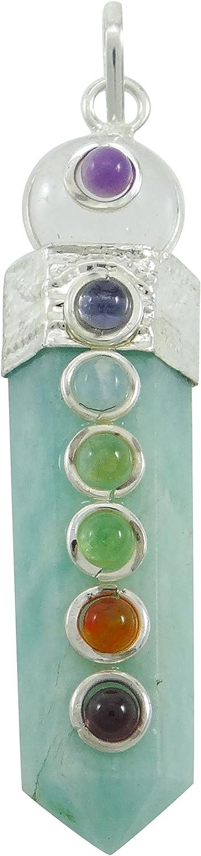Harmonize Amazonita Piedra lápiz Colgante de Equilibrio Wand 7 Terapia de Equilibrio de Chakra Cristales Reiki
