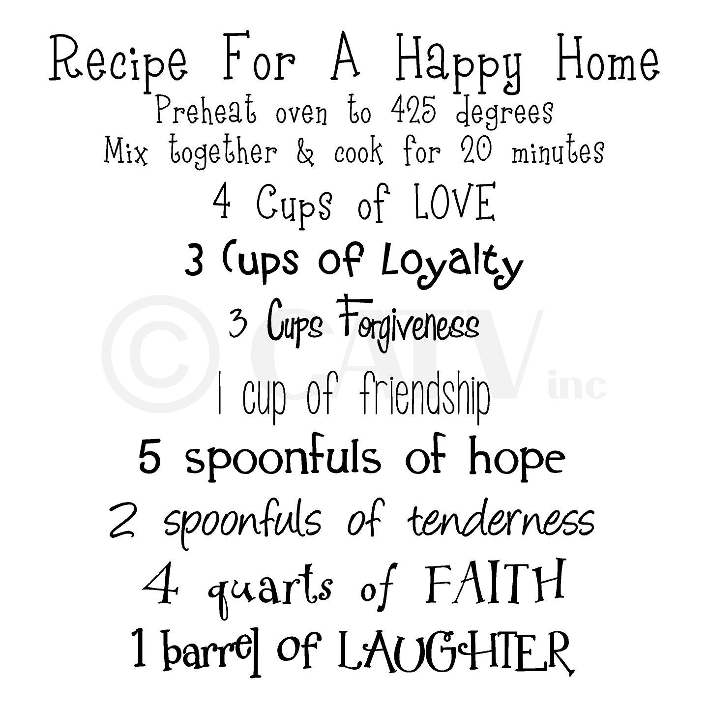 amazon com recipe for a happy home wall saying vinyl lettering amazon com recipe for a happy home wall saying vinyl lettering art decal quote sticker home decal home kitchen