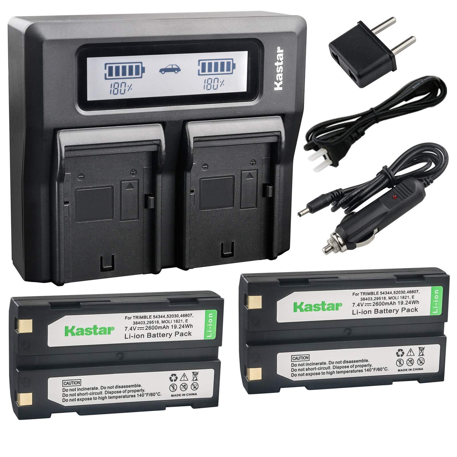 Kastar Fast Dual LCD Charger + 2x Battery Replacement for Pentax Ei-D-Li1 EI-D-BC1 EI-2000, Trimble 29518 46607 52030 54344 38403 5700 5800 R6 R7 R8 GNSS TR-R8 GPS, HP PhotoSmart C8873A 912 C912C912XI