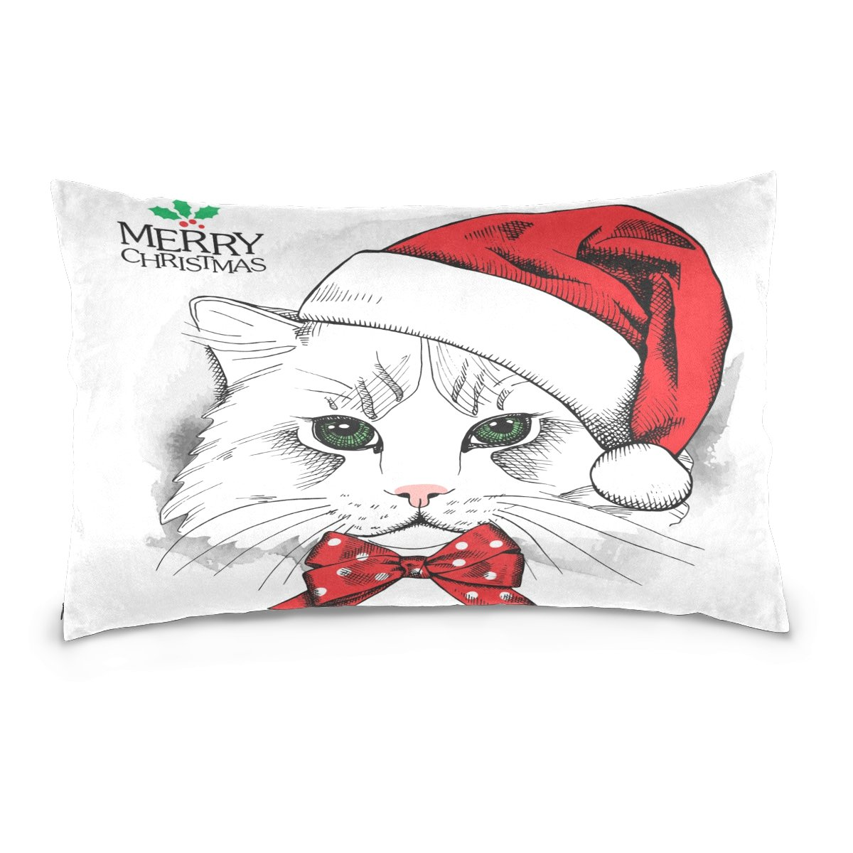 Pillow Covers Pillow Protectors Bed Bug Dust Mite Resistant Standard Pillow Cases Cotton Sateen Allergy Proof Soft Quality Covers with Christmas Cute Animal Kitten for Bedding