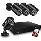 XVIM 8CH 1080P Security Camera System Home Security Outdoor 1TB Hard Drive Pre-Install CCTV Recorder 4pcs HD 1920TVL Upgrade