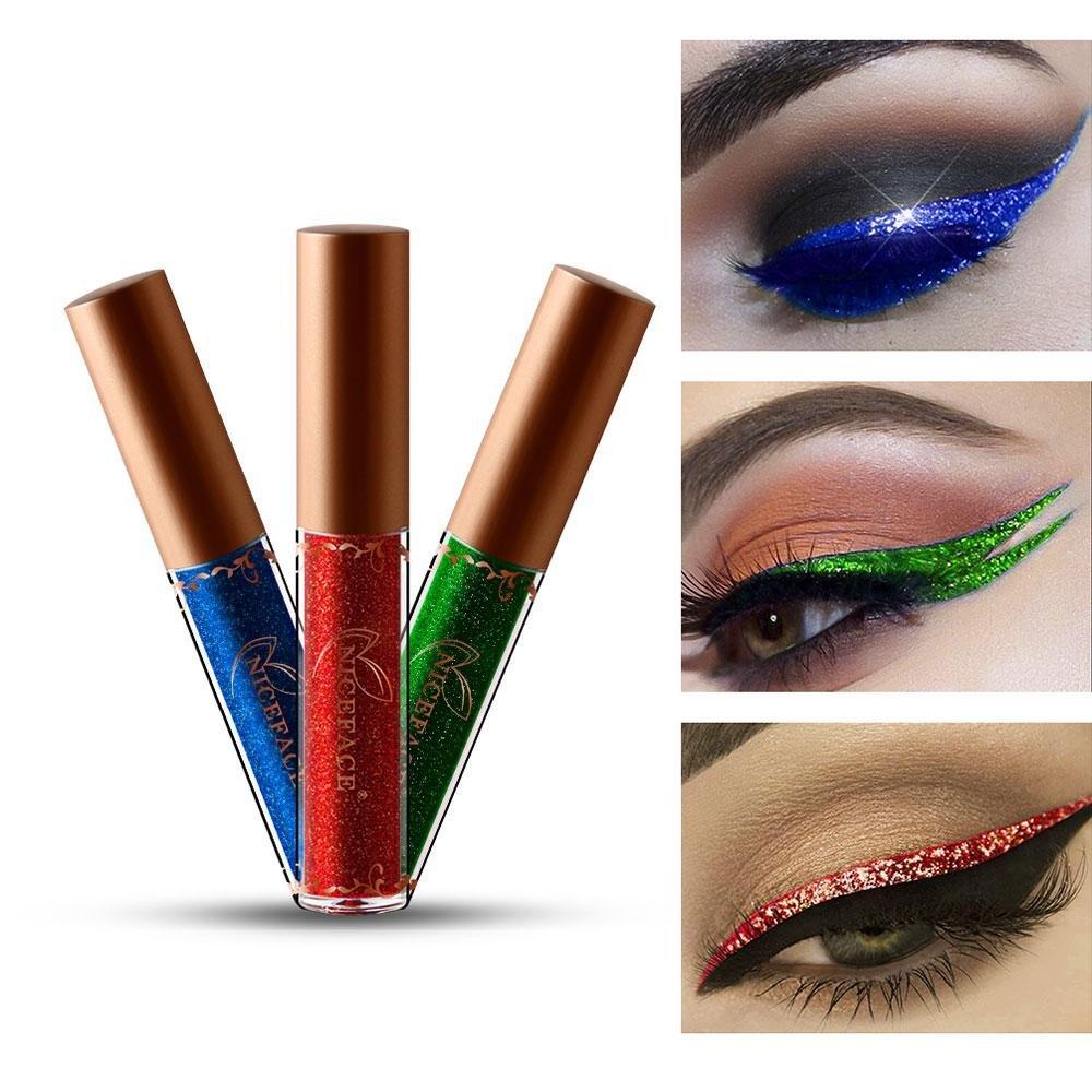 Líquido líquido para delineador de ojos Leegoal con purpurina, 10 colores, metalizado, líquido para maquillaje y delineador de ojos (1 paquete): Amazon.es: ...